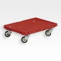 Vežimėlis RO 460 EF tipo dėžėms su plastikiniais ratukais, 594x396x150 mm, raudonas