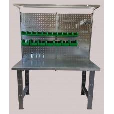 Darbo stalas su sienele ir šviestuvu, 1500x750mm, 1,5mm plieno paviršius